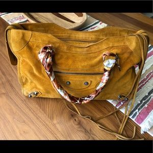 Balanciaga City bag yellow suede Authentic summer